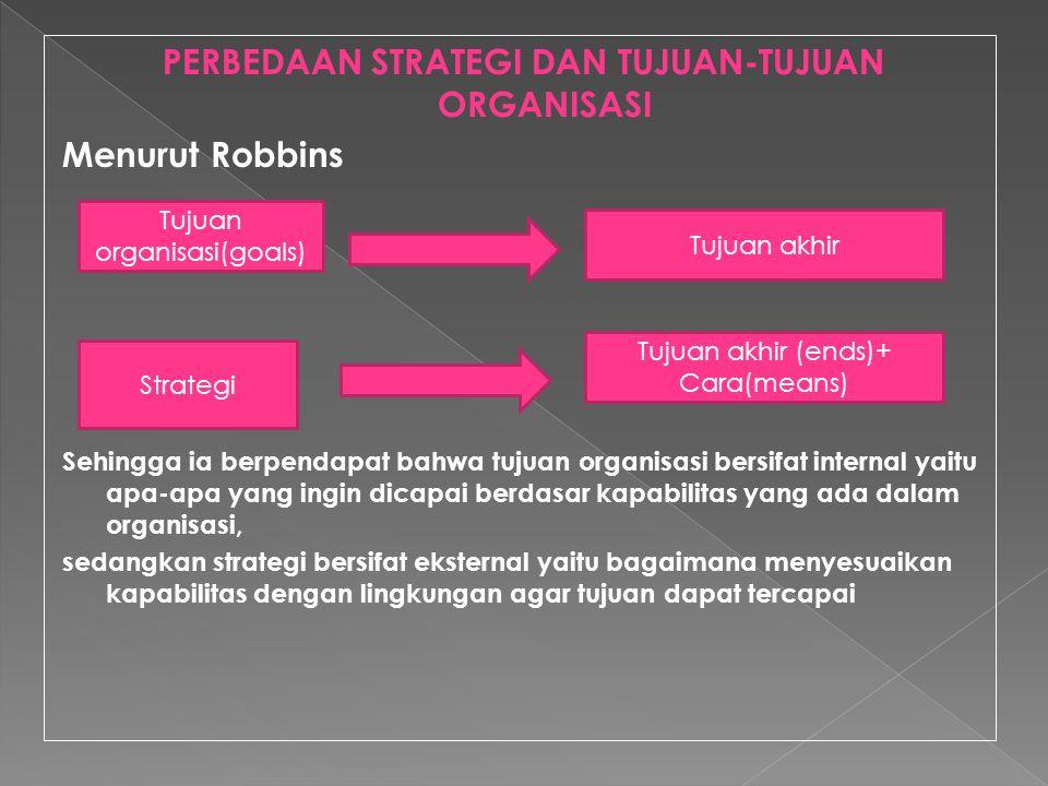 PERBEDAAN STRATEGI DAN TUJUAN-TUJUAN ORGANISASI Menurut Robbins Sehingga ia berpendapat bahwa tujuan organisasi bersifat internal yaitu apa-apa yang i