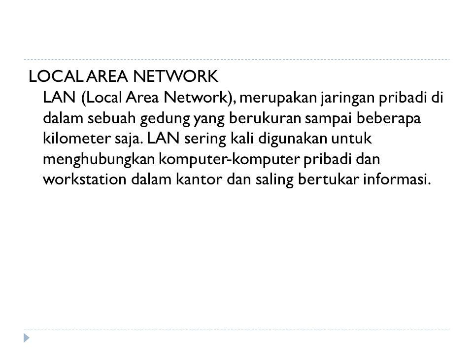 LOCAL AREA NETWORK LAN (Local Area Network), merupakan jaringan pribadi di dalam sebuah gedung yang berukuran sampai beberapa kilometer saja. LAN seri