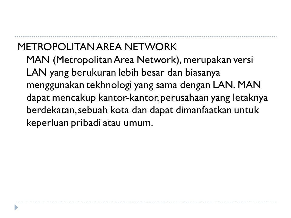 METROPOLITAN AREA NETWORK MAN (Metropolitan Area Network), merupakan versi LAN yang berukuran lebih besar dan biasanya menggunakan tekhnologi yang sam