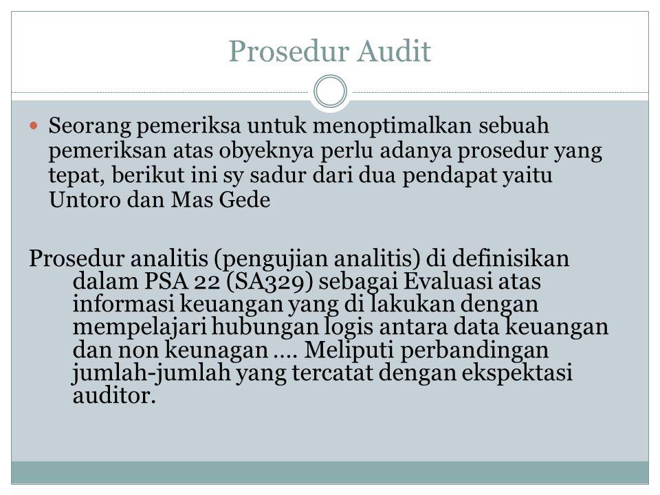 Prosedur Audit Seorang pemeriksa untuk menoptimalkan sebuah pemeriksan atas obyeknya perlu adanya prosedur yang tepat, berikut ini sy sadur dari dua p