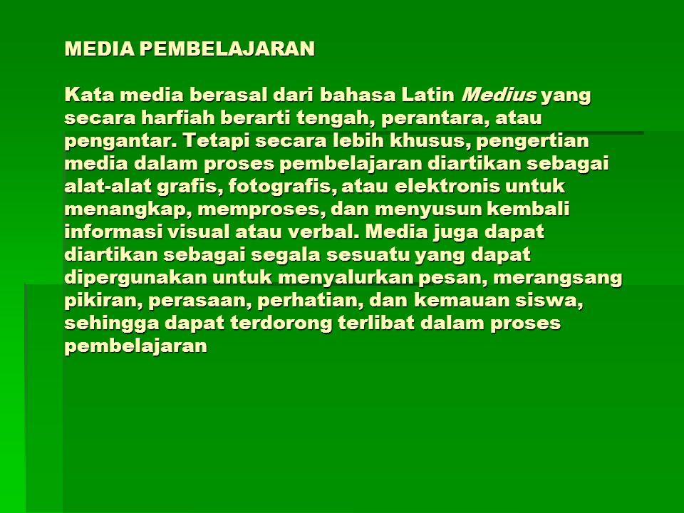 MEDIA PEMBELAJARAN Kata media berasal dari bahasa Latin Medius yang secara harfiah berarti tengah, perantara, atau pengantar. Tetapi secara lebih khus