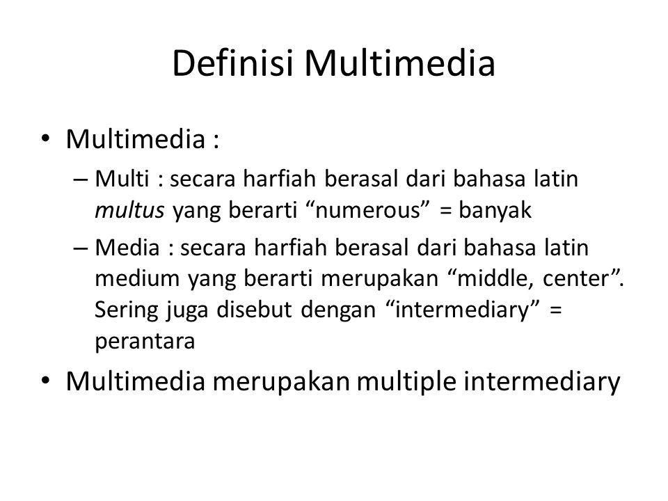 Definisi Multimedia (lanjutan) Kata multimedia merupakan kata yang sering digunakan dalam bidang ekonomi, tehnik, dan ilmiah.
