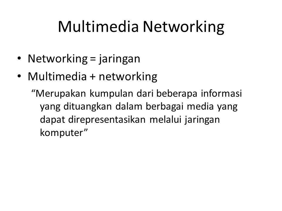 """Multimedia Networking Networking = jaringan Multimedia + networking """"Merupakan kumpulan dari beberapa informasi yang dituangkan dalam berbagai media y"""