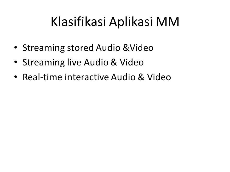 Streaming stored Audio &Video Klien melakukan request file audio/video dari sebuah server Interactive : User dapat melakukan operasi kontrol pada file audio/video : misal pause, stop, dll Delay : Delay dari klien ketika melakukan request hingga ditampilkan sekitar 1 – 10 detik