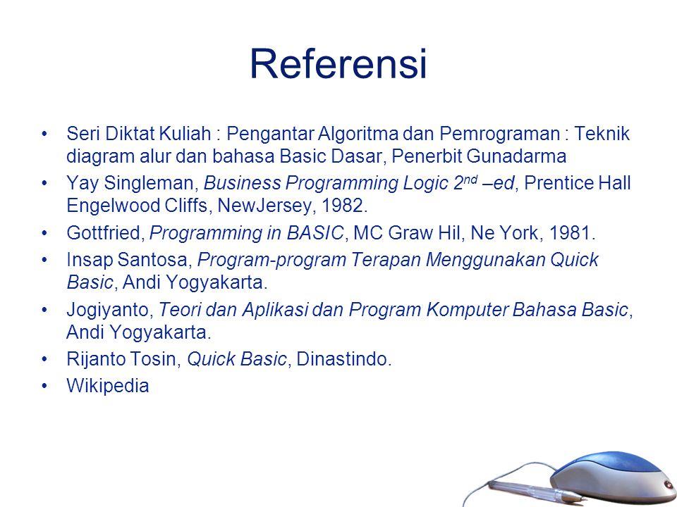Referensi Seri Diktat Kuliah : Pengantar Algoritma dan Pemrograman : Teknik diagram alur dan bahasa Basic Dasar, Penerbit Gunadarma Yay Singleman, Bus
