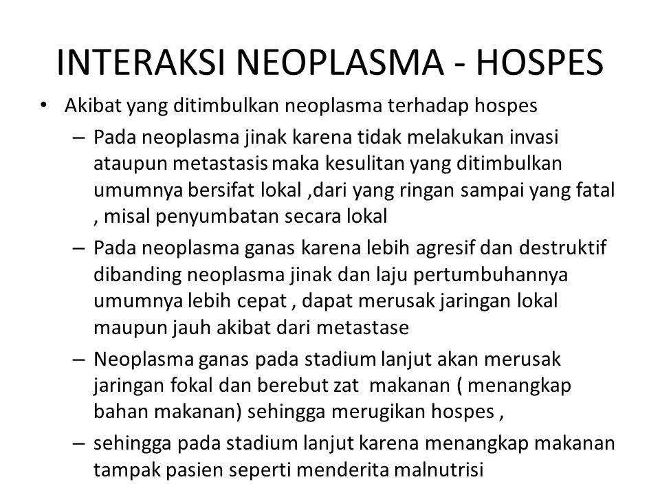 INTERAKSI NEOPLASMA - HOSPES Akibat yang ditimbulkan neoplasma terhadap hospes – Pada neoplasma jinak karena tidak melakukan invasi ataupun metastasis