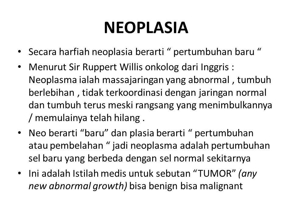 """NEOPLASIA Secara harfiah neoplasia berarti """" pertumbuhan baru """" Menurut Sir Ruppert Willis onkolog dari Inggris : Neoplasma ialah massajaringan yang a"""