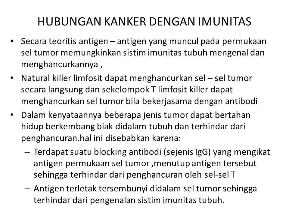 HUBUNGAN KANKER DENGAN IMUNITAS Secara teoritis antigen – antigen yang muncul pada permukaan sel tumor memungkinkan sistim imunitas tubuh mengenal dan