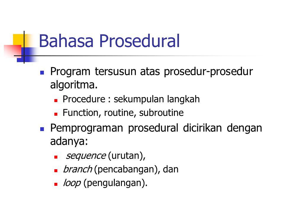 Bahasa Prosedural Program tersusun atas prosedur-prosedur algoritma. Procedure : sekumpulan langkah Function, routine, subroutine Pemprograman prosedu