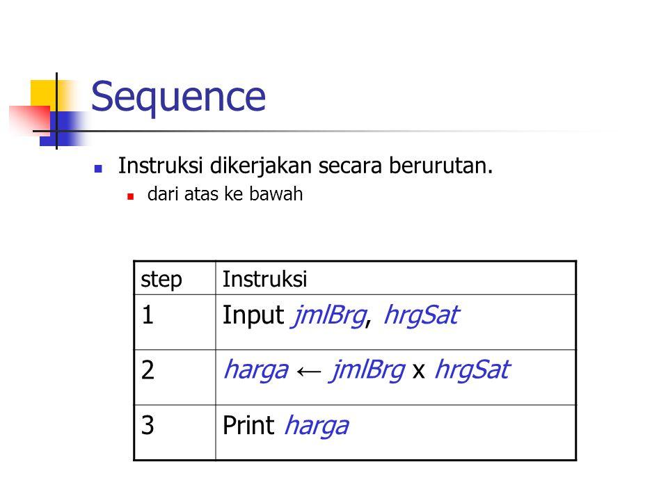 Sequence Instruksi dikerjakan secara berurutan. dari atas ke bawah stepInstruksi 1Input jmlBrg, hrgSat 2harga ← jmlBrg x hrgSat 3Print harga