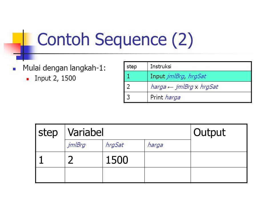 Contoh Sequence (2) Mulai dengan langkah-1: Input 2, 1500 stepInstruksi 1Input jmlBrg, hrgSat 2harga ← jmlBrg x hrgSat 3Print harga stepVariabelOutput