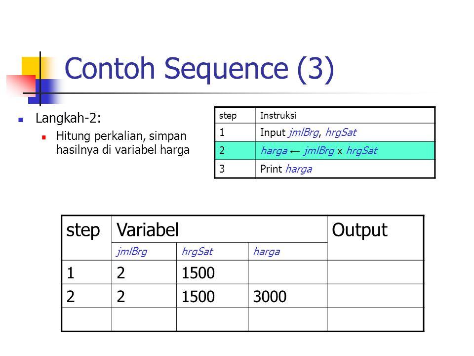 Contoh Sequence (3) Langkah-2: Hitung perkalian, simpan hasilnya di variabel harga stepInstruksi 1Input jmlBrg, hrgSat 2harga ← jmlBrg x hrgSat 3Print