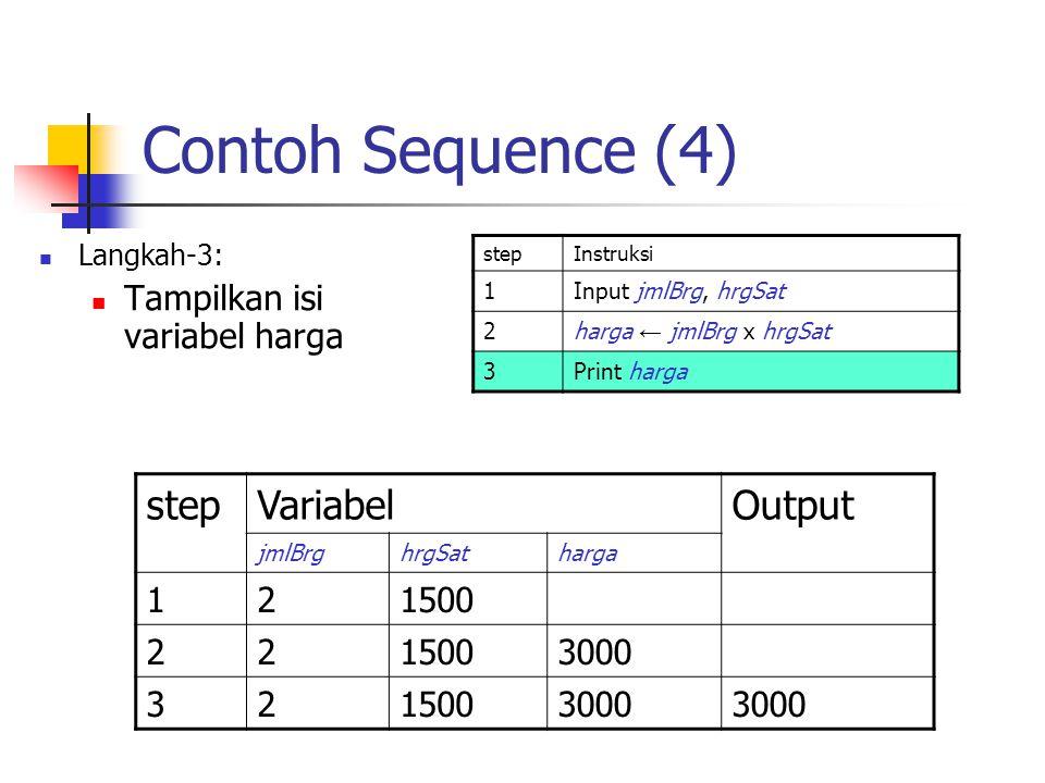 Contoh Sequence (4) Langkah-3: Tampilkan isi variabel harga stepInstruksi 1Input jmlBrg, hrgSat 2harga ← jmlBrg x hrgSat 3Print harga stepVariabelOutp