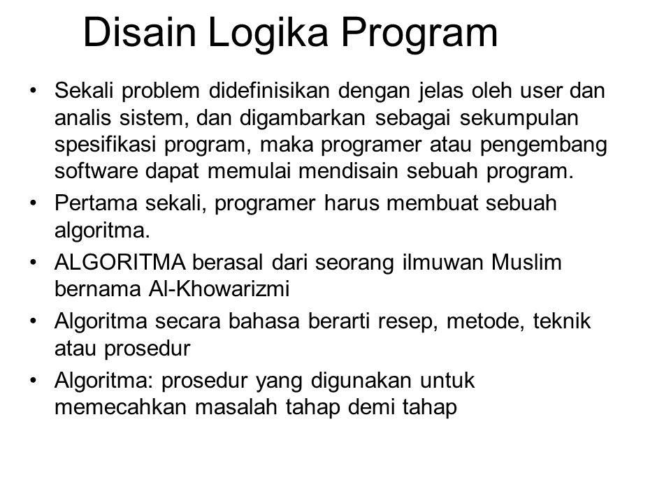 Disain Logika Program Sekali problem didefinisikan dengan jelas oleh user dan analis sistem, dan digambarkan sebagai sekumpulan spesifikasi program, m