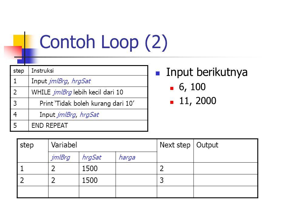 Contoh Loop (2) stepInstruksi 1Input jmlBrg, hrgSat 2WHILE jmlBrg lebih kecil dari 10 3 Print 'Tidak boleh kurang dari 10' 4 Input jmlBrg, hrgSat 5END