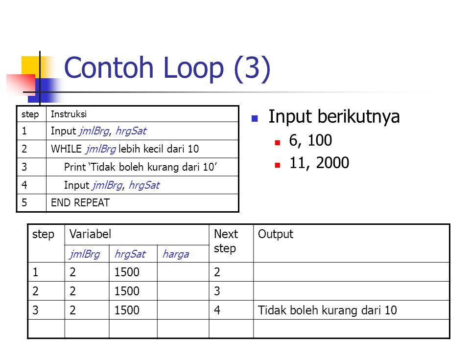 Contoh Loop (3) stepInstruksi 1Input jmlBrg, hrgSat 2WHILE jmlBrg lebih kecil dari 10 3 Print 'Tidak boleh kurang dari 10' 4 Input jmlBrg, hrgSat 5END