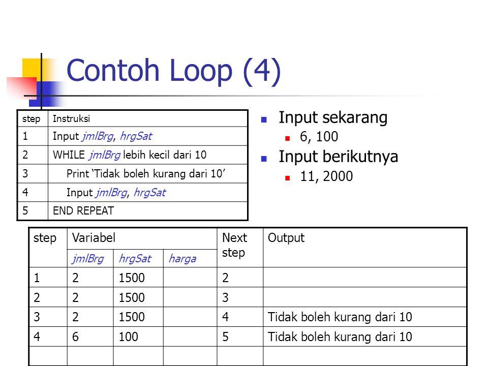 Contoh Loop (4) stepInstruksi 1Input jmlBrg, hrgSat 2WHILE jmlBrg lebih kecil dari 10 3 Print 'Tidak boleh kurang dari 10' 4 Input jmlBrg, hrgSat 5END