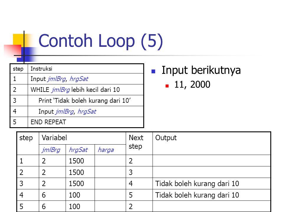 Contoh Loop (5) stepInstruksi 1Input jmlBrg, hrgSat 2WHILE jmlBrg lebih kecil dari 10 3 Print 'Tidak boleh kurang dari 10' 4 Input jmlBrg, hrgSat 5END
