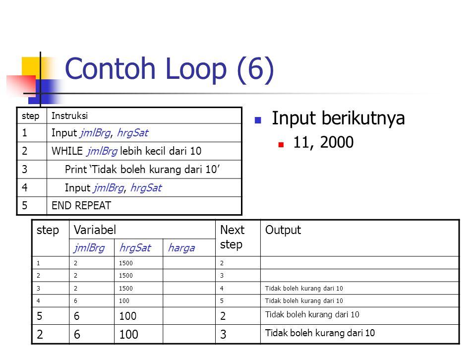 Contoh Loop (6) stepInstruksi 1Input jmlBrg, hrgSat 2WHILE jmlBrg lebih kecil dari 10 3 Print 'Tidak boleh kurang dari 10' 4 Input jmlBrg, hrgSat 5END