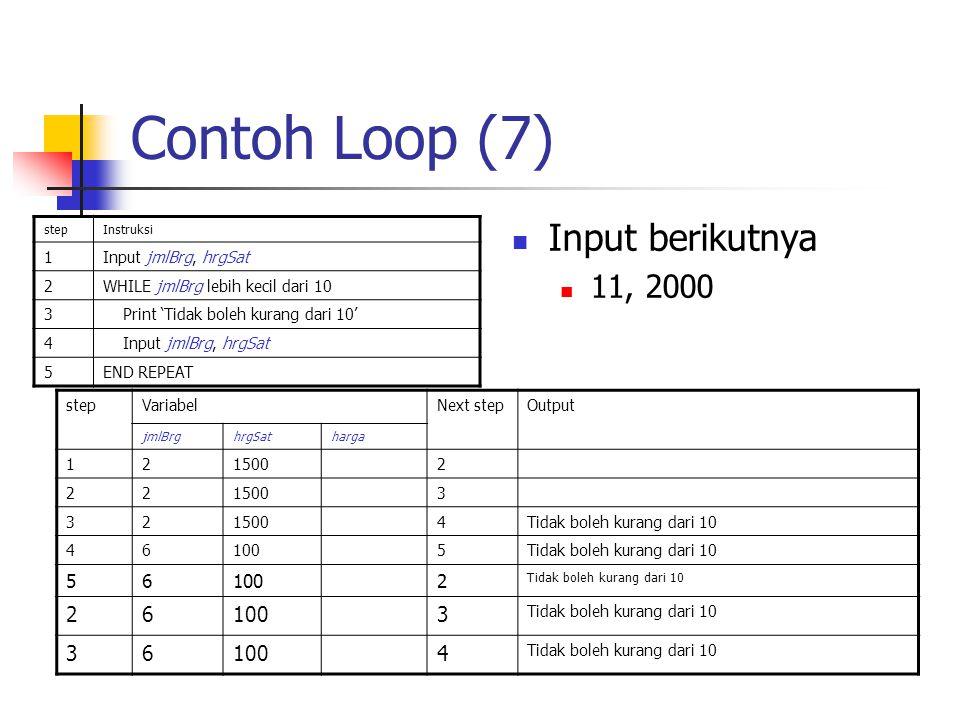 Contoh Loop (7) stepInstruksi 1Input jmlBrg, hrgSat 2WHILE jmlBrg lebih kecil dari 10 3 Print 'Tidak boleh kurang dari 10' 4 Input jmlBrg, hrgSat 5END