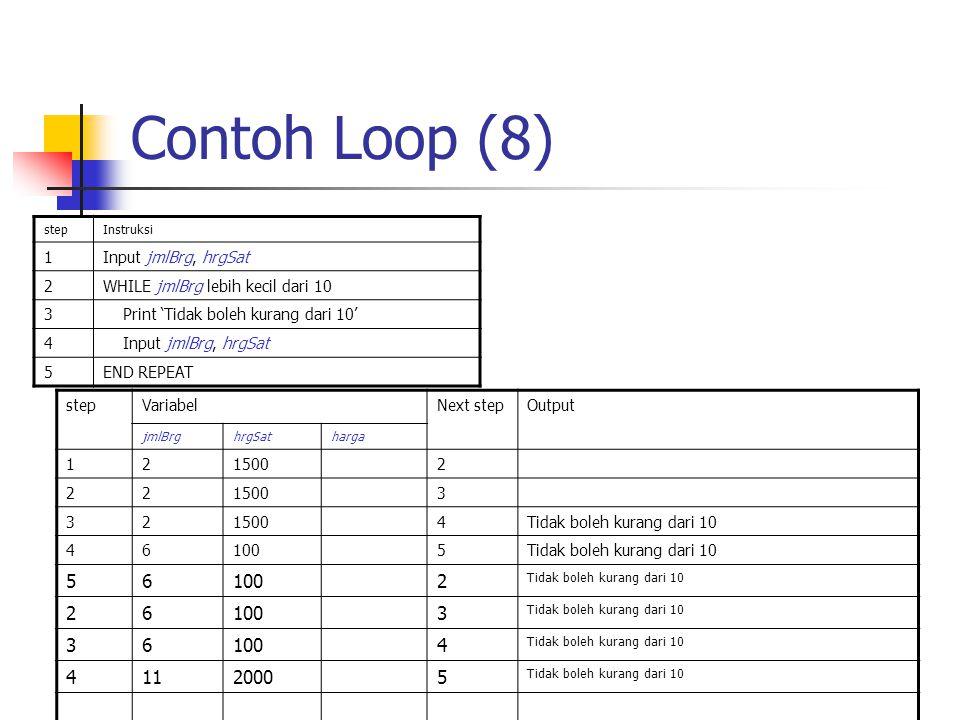 Contoh Loop (8) stepInstruksi 1Input jmlBrg, hrgSat 2WHILE jmlBrg lebih kecil dari 10 3 Print 'Tidak boleh kurang dari 10' 4 Input jmlBrg, hrgSat 5END