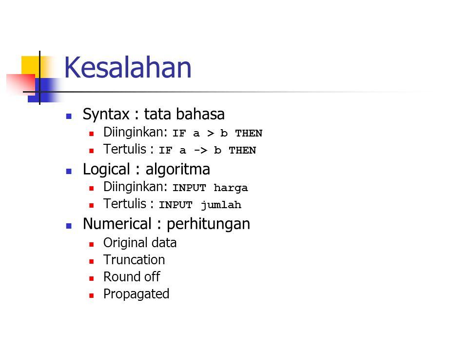 Kesalahan Syntax : tata bahasa Diinginkan: IF a > b THEN Tertulis : IF a -> b THEN Logical : algoritma Diinginkan: INPUT harga Tertulis : INPUT jumlah