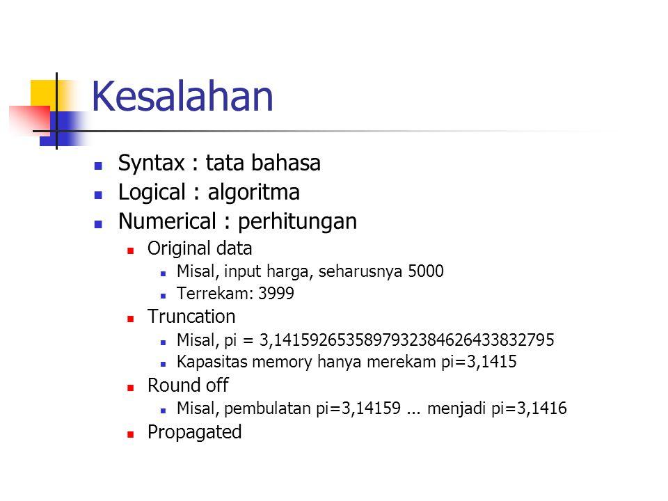 Kesalahan Syntax : tata bahasa Logical : algoritma Numerical : perhitungan Original data Misal, input harga, seharusnya 5000 Terrekam: 3999 Truncation