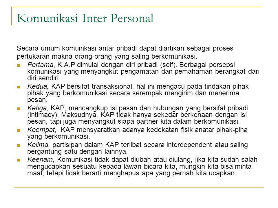 Komunikasi Inter Personal Secara umum komunikasi antar pribadi dapat diartikan sebagai proses pertukaran makna orang-orang yang saling berkomunikasi.