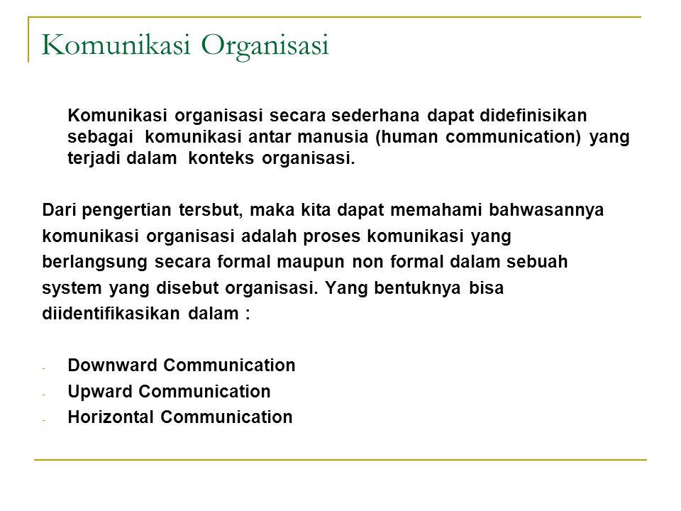Komunikasi Organisasi Komunikasi organisasi secara sederhana dapat didefinisikan sebagai komunikasi antar manusia (human communication) yang terjadi d