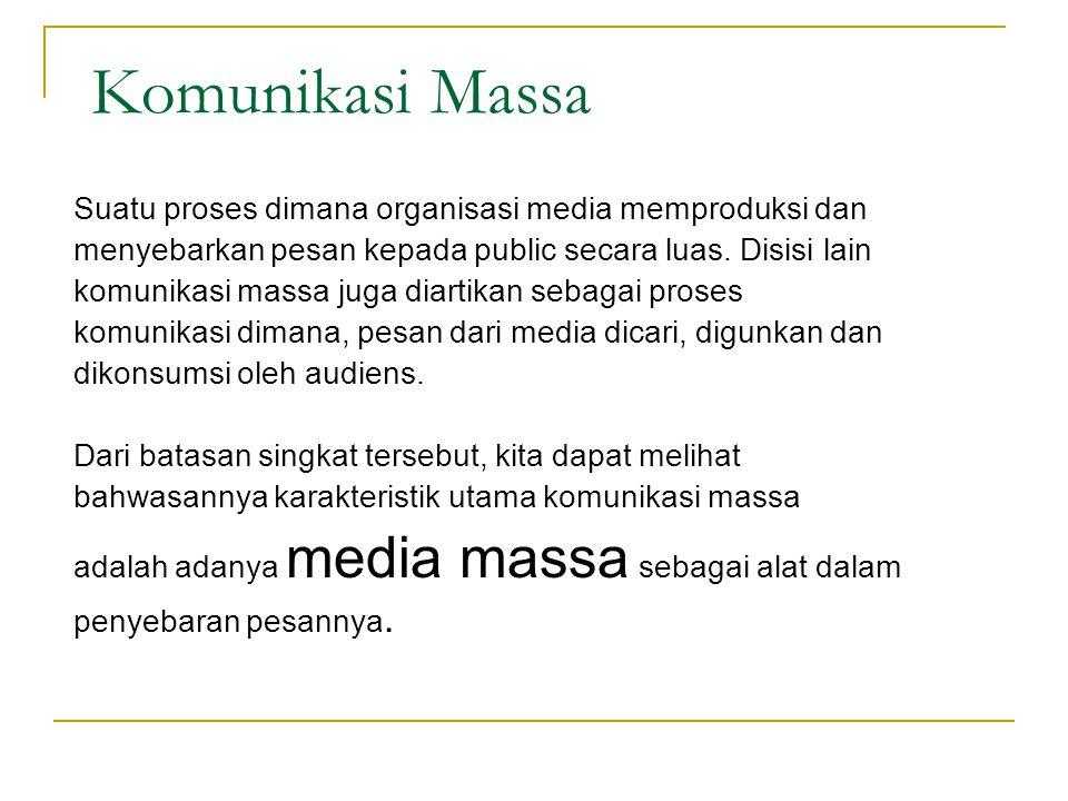 Ciri Komunikasi massa Komunikator melembaga Pesan : - Publicly - Rapidly - Transient Keserempakan Khalayak : heterogen dan Anonim Feed back tertunda Media: Mass media