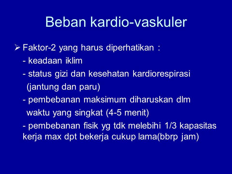 Beban kardio-vaskuler  Faktor-2 yang harus diperhatikan : - keadaan iklim - status gizi dan kesehatan kardiorespirasi (jantung dan paru) - pembebanan