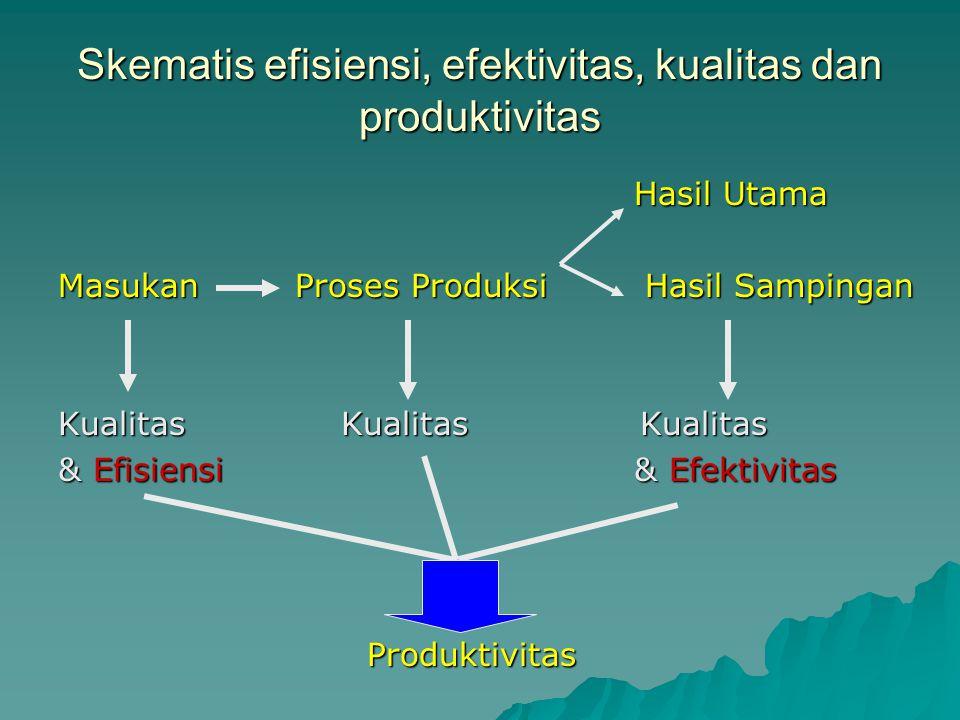 Skematis efisiensi, efektivitas, kualitas dan produktivitas Hasil Utama Masukan Proses Produksi Hasil Sampingan Kualitas Kualitas Kualitas & Efisiensi