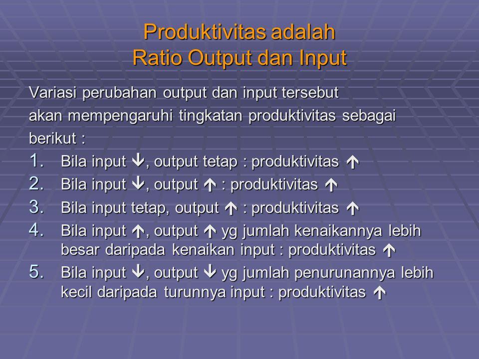 Produktivitas adalah Ratio Output dan Input Variasi perubahan output dan input tersebut akan mempengaruhi tingkatan produktivitas sebagai berikut : 1.