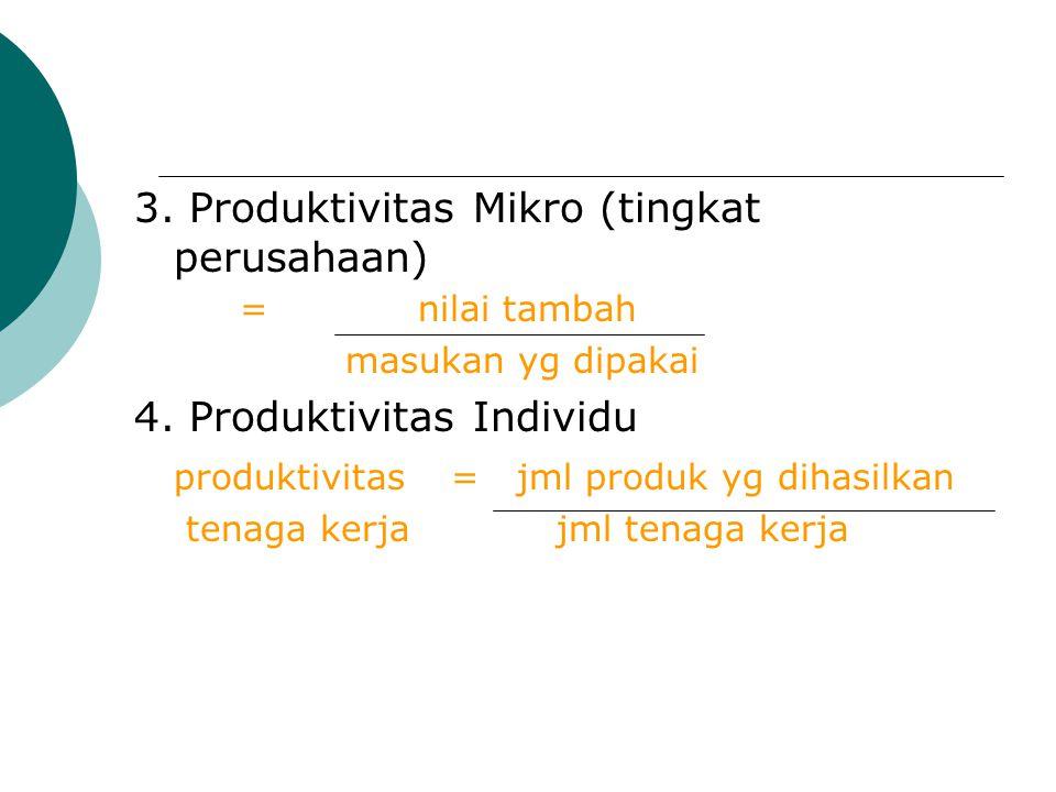 3. Produktivitas Mikro (tingkat perusahaan) = nilai tambah masukan yg dipakai 4. Produktivitas Individu produktivitas= jml produk yg dihasilkan tenaga