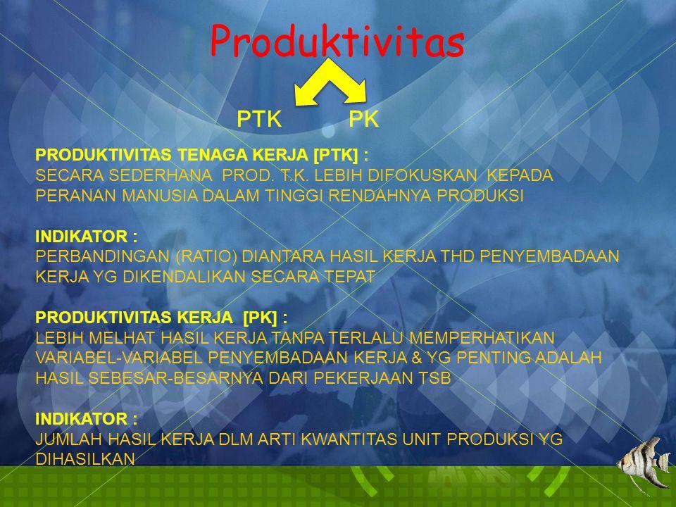 Produktivitas PTK PK PRODUKTIVITAS TENAGA KERJA [PTK] : SECARA SEDERHANA PROD. T.K. LEBIH DIFOKUSKAN KEPADA PERANAN MANUSIA DALAM TINGGI RENDAHNYA PRO