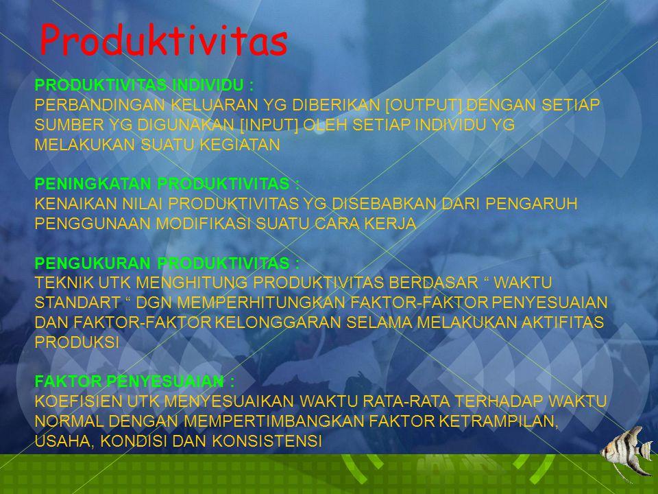 Produktivitas PRODUKTIVITAS INDIVIDU : PERBANDINGAN KELUARAN YG DIBERIKAN [OUTPUT] DENGAN SETIAP SUMBER YG DIGUNAKAN [INPUT] OLEH SETIAP INDIVIDU YG MELAKUKAN SUATU KEGIATAN PENINGKATAN PRODUKTIVITAS : KENAIKAN NILAI PRODUKTIVITAS YG DISEBABKAN DARI PENGARUH PENGGUNAAN MODIFIKASI SUATU CARA KERJA PENGUKURAN PRODUKTIVITAS : TEKNIK UTK MENGHITUNG PRODUKTIVITAS BERDASAR WAKTU STANDART DGN MEMPERHITUNGKAN FAKTOR-FAKTOR PENYESUAIAN DAN FAKTOR-FAKTOR KELONGGARAN SELAMA MELAKUKAN AKTIFITAS PRODUKSI FAKTOR PENYESUAIAN : KOEFISIEN UTK MENYESUAIKAN WAKTU RATA-RATA TERHADAP WAKTU NORMAL DENGAN MEMPERTIMBANGKAN FAKTOR KETRAMPILAN, USAHA, KONDISI DAN KONSISTENSI