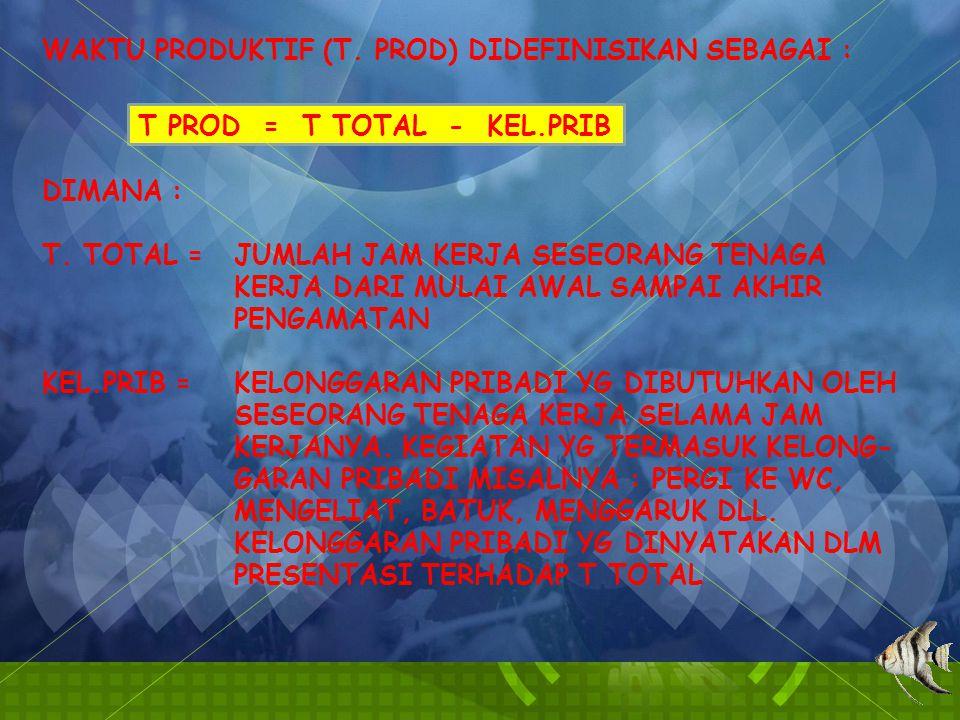 WAKTU PRODUKTIF (T.PROD) DIDEFINISIKAN SEBAGAI : T PROD = T TOTAL - KEL.PRIB DIMANA : T.