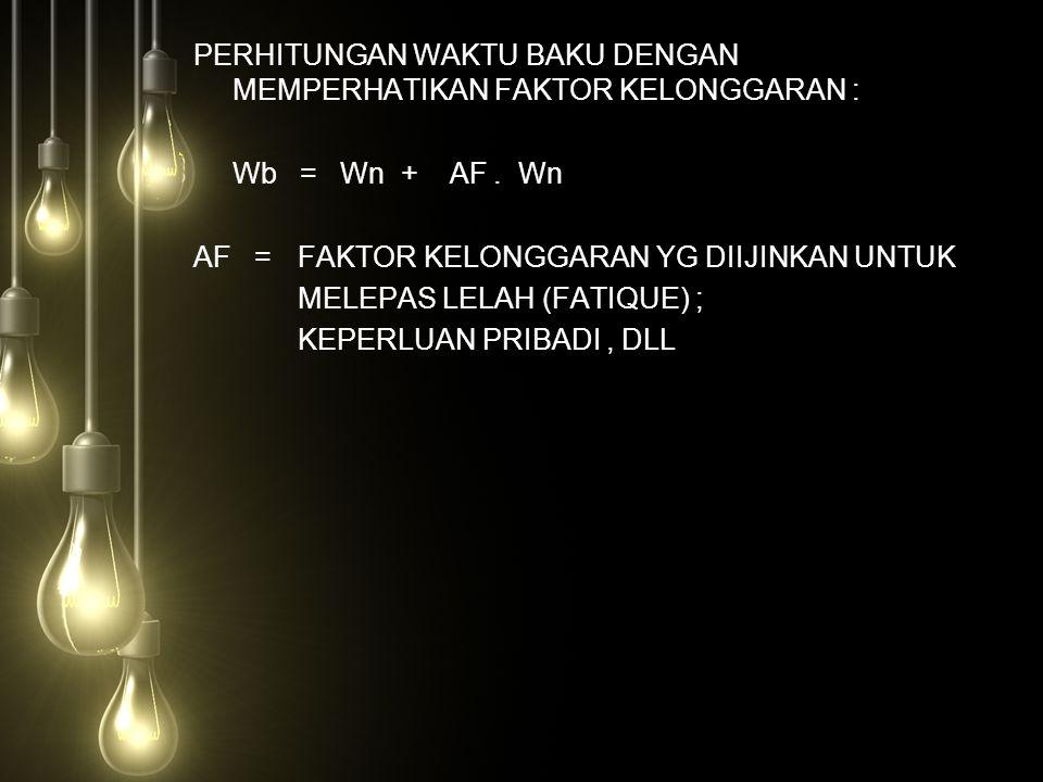 PERHITUNGAN WAKTU BAKU DENGAN MEMPERHATIKAN FAKTOR KELONGGARAN : Wb = Wn + AF.