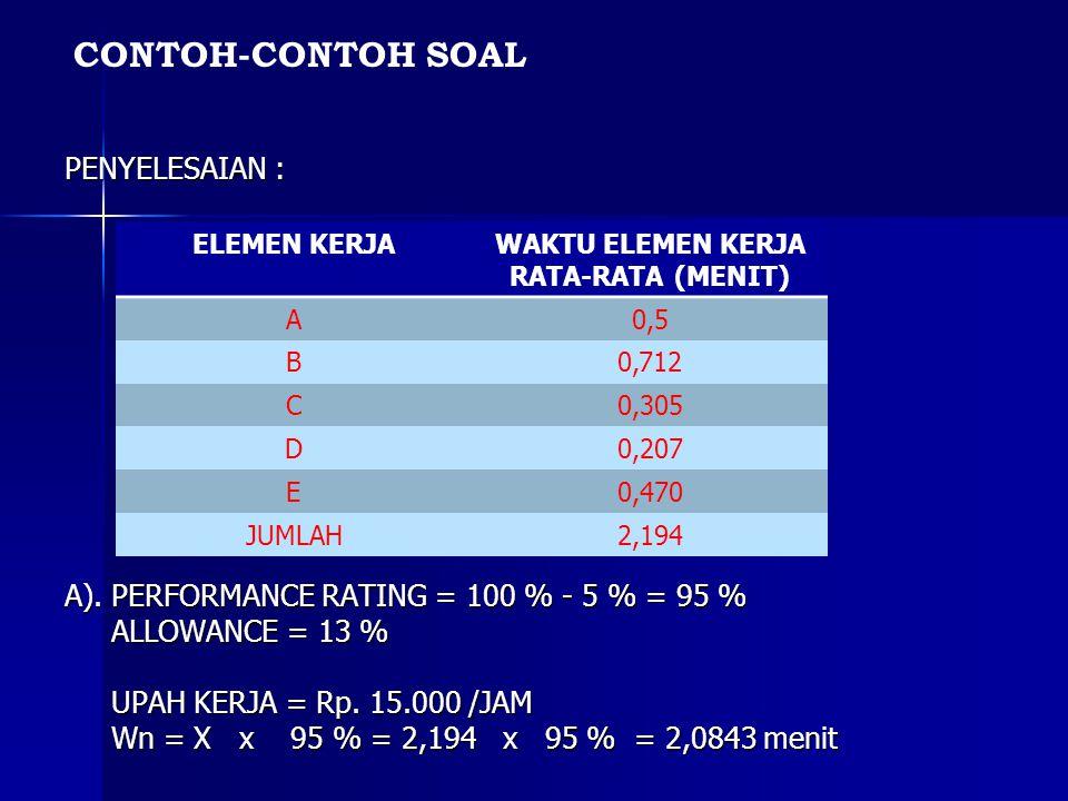 PENYELESAIAN : A). PERFORMANCE RATING = 100 % - 5 % = 95 % ALLOWANCE = 13 % ALLOWANCE = 13 % UPAH KERJA = Rp. 15.000 /JAM UPAH KERJA = Rp. 15.000 /JAM