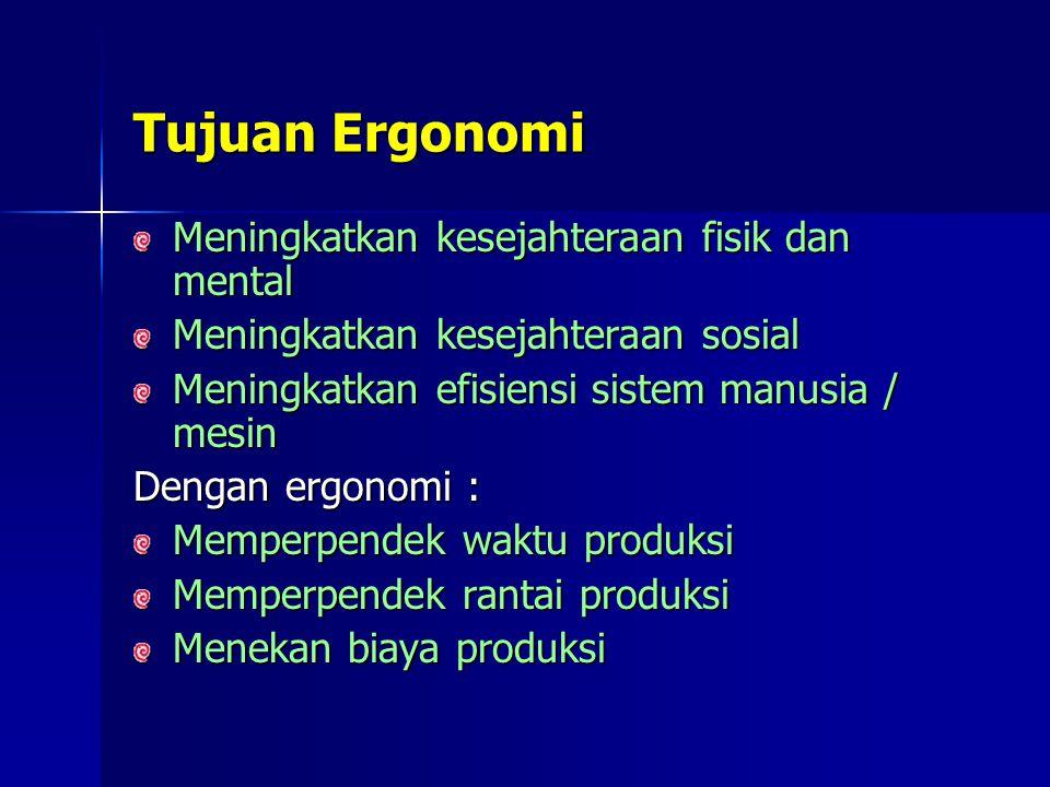 Tujuan Ergonomi Meningkatkan kesejahteraan fisik dan mental Meningkatkan kesejahteraan sosial Meningkatkan efisiensi sistem manusia / mesin Dengan ergonomi : Memperpendek waktu produksi Memperpendek rantai produksi Menekan biaya produksi