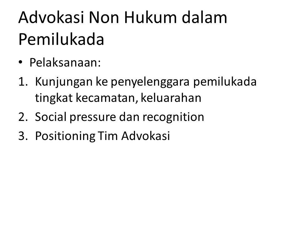 Advokasi Non Hukum dalam Pemilukada Pelaksanaan: 1.Kunjungan ke penyelenggara pemilukada tingkat kecamatan, keluarahan 2.Social pressure dan recogniti