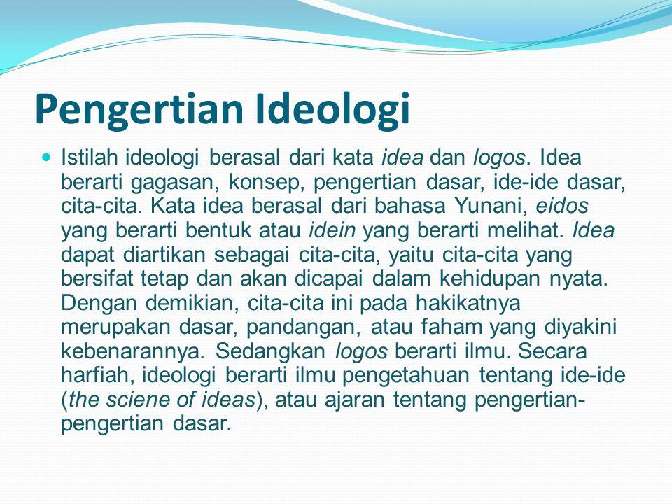 Pengertian Ideologi Istilah ideologi berasal dari kata idea dan logos.