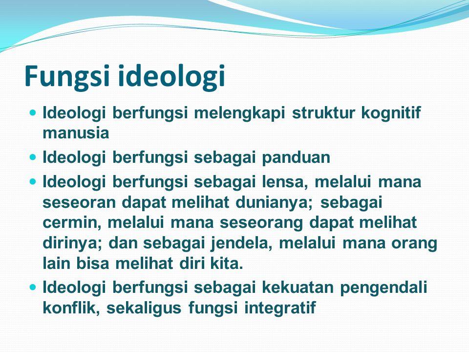 Fungsi ideologi Ideologi berfungsi melengkapi struktur kognitif manusia Ideologi berfungsi sebagai panduan Ideologi berfungsi sebagai lensa, melalui mana seseoran dapat melihat dunianya; sebagai cermin, melalui mana seseorang dapat melihat dirinya; dan sebagai jendela, melalui mana orang lain bisa melihat diri kita.