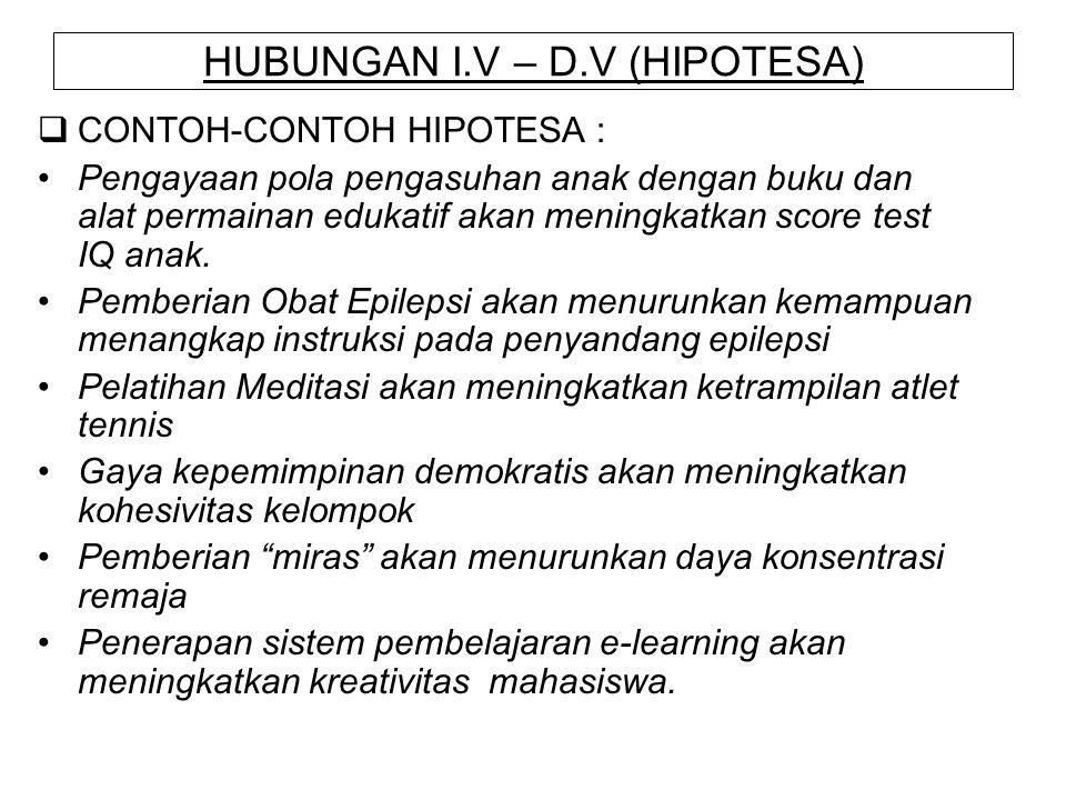HUBUNGAN I.V – D.V (HIPOTESA)  CONTOH-CONTOH HIPOTESA : Pengayaan pola pengasuhan anak dengan buku dan alat permainan edukatif akan meningkatkan scor