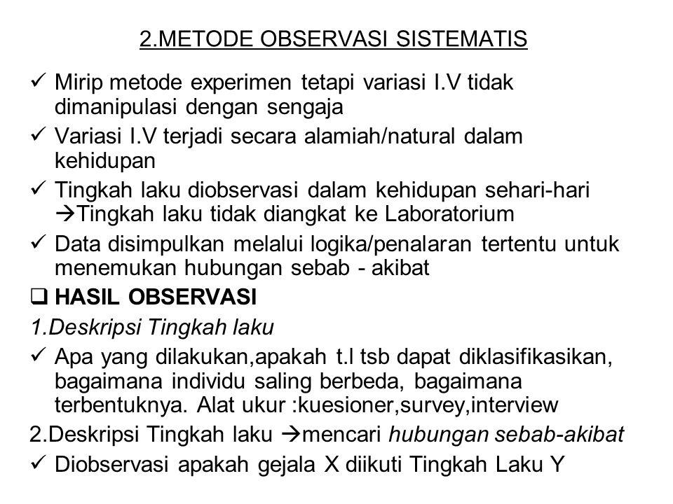 2.METODE OBSERVASI SISTEMATIS Mirip metode experimen tetapi variasi I.V tidak dimanipulasi dengan sengaja Variasi I.V terjadi secara alamiah/natural d