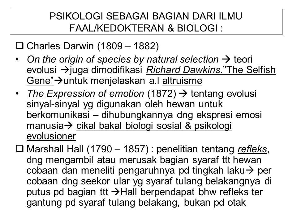 PSIKOLOGI SEBAGAI BAGIAN DARI ILMU FAAL/KEDOKTERAN & BIOLOGI :  Charles Darwin (1809 – 1882) On the origin of species by natural selection  teori ev