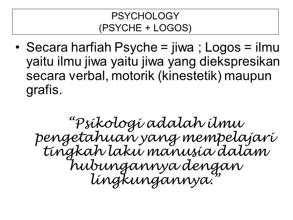 PSYCHOLOGY (PSYCHE + LOGOS) Secara harfiah Psyche = jiwa ; Logos = ilmu yaitu ilmu jiwa yaitu jiwa yang diekspresikan secara verbal, motorik (kinestet