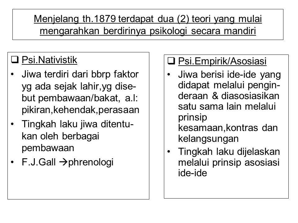 Menjelang th.1879 terdapat dua (2) teori yang mulai mengarahkan berdirinya psikologi secara mandiri  Psi.Nativistik Jiwa terdiri dari bbrp faktor yg
