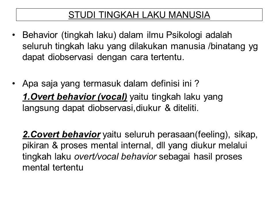 STUDI TINGKAH LAKU MANUSIA Behavior (tingkah laku) dalam ilmu Psikologi adalah seluruh tingkah laku yang dilakukan manusia /binatang yg dapat diobserv