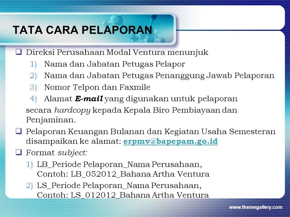 TATA CARA PELAPORAN  Direksi Perusahaan Modal Ventura menunjuk 1)Nama dan Jabatan Petugas Pelapor 2)Nama dan Jabatan Petugas Penanggung Jawab Pelapor